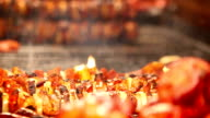 Meat roasts on the Fire: European national dish video