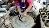 Mechanic pottery made earthenware at Koh Kret Island in Nonthaburi Thailand. video