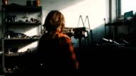 Mechanic woman in workshop video