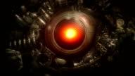 Mechanical robot eye looking around loop. video