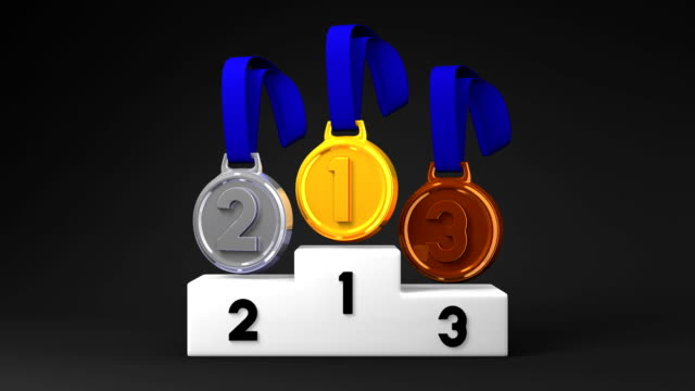 Medals And Podium On Black Background video