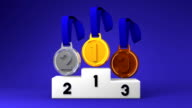 Medals And Podium On Blue Background video
