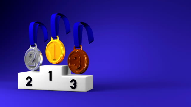 Medals And Podium On Blue Text Space video