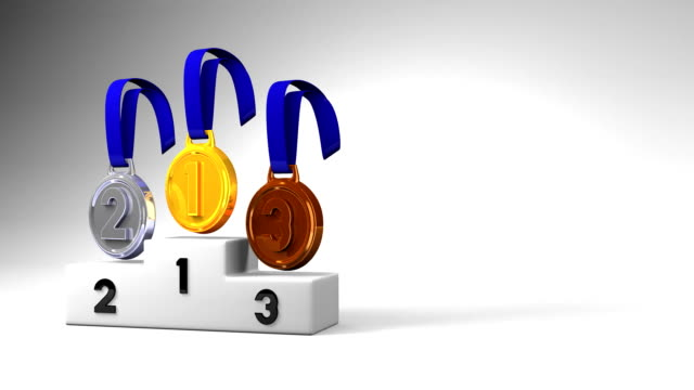 Medals And Podium On White Text Space video