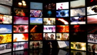 Media Bank of Screens HD video