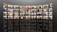 Media Wall of Business Images in HD video