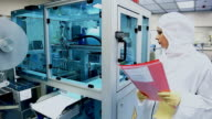 Medical production, woman in the laboratory video