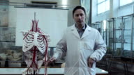 Medical professor in anatomy class with skeleton video