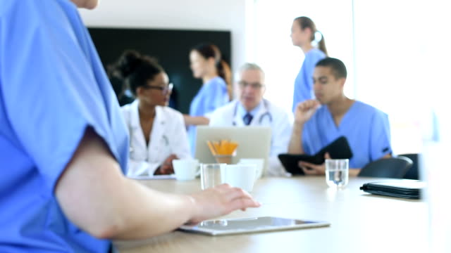 medical team meeting in a hospital video