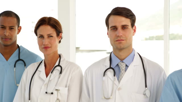 Medical team standing in a row video