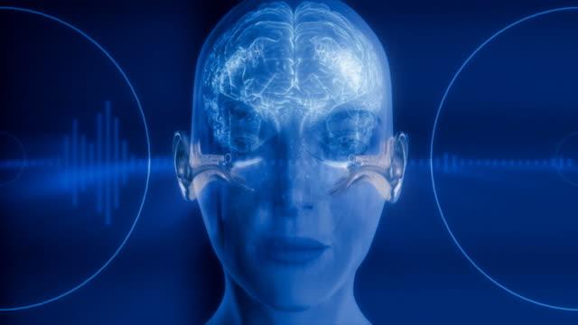 Medical video background. Ear. Brain. Hearing mechanism animation. HD. video