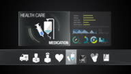 Medication icon for Health Care contents.Technology medical care service.Digital display application. video