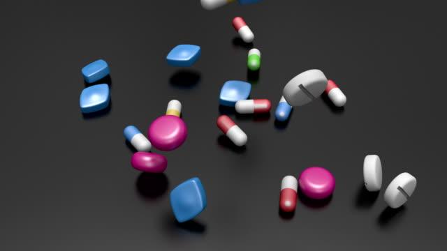 Medicine falling in slow motion video