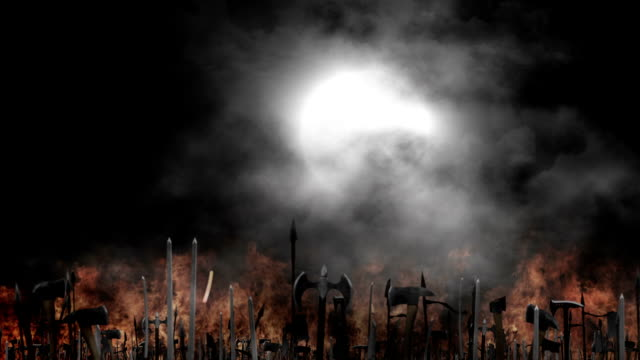 Medieval Army Waving their Weapons Before or After a Battle on a Full Moon Foggy Night video