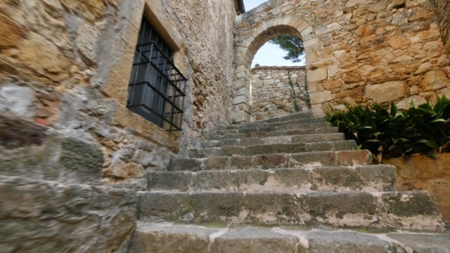 Medieval Gothic Stone Town Steady Cam Low Point of View video
