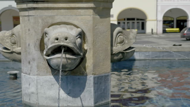 Medieval stone fountain with chord in form of comic fish. video
