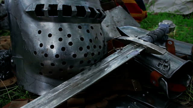 Medieval Sword close up - camera slide video