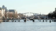 Medieval Thiny bridge in Amsterdam the Netherlands video