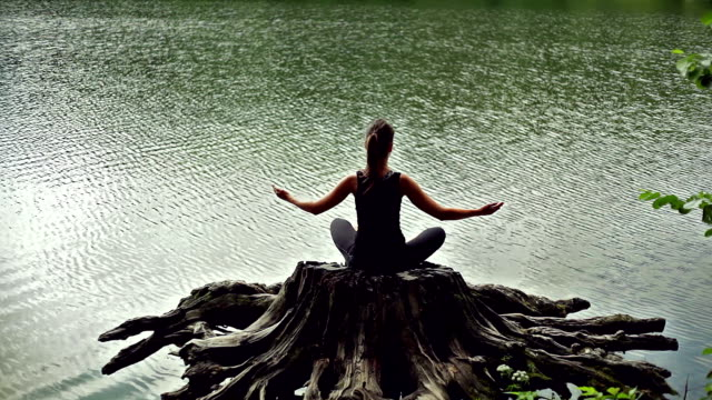 Meditating girl in the lake. Back view video