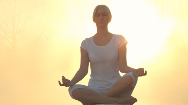 HD DOLLY: Meditating In Nature At Sunrise video