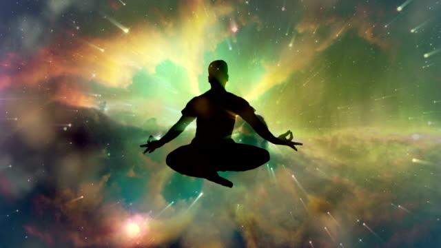 Meditating man enlightenment or meditation and universe video