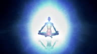 Meditating woman enlightenment or meditation and universe - chakra symbols video