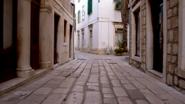 POV Mediterranean Alley With Cobbled Street video