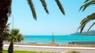 Mediterranean Sea and palm trees, Summer in Spain, Costa Dorada video