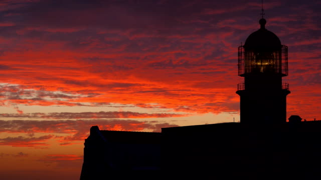 Medium shot of a lighthouse during sunset in Portugal video