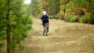Medium shot of mountain biker video