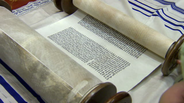 Medium Shot of Torah Scroll video
