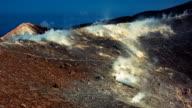 Medium shot panoramic view of Sicilian Egadi Volcano's island fumarole releasing white steam video