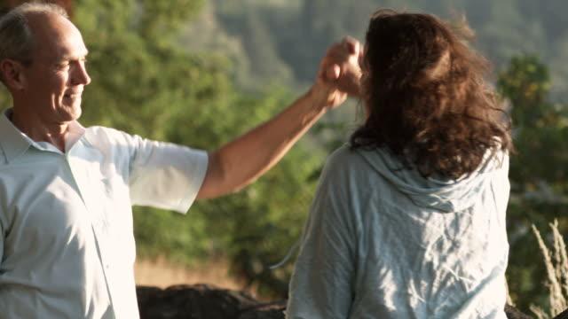 Medium two-shot of a senior man and woman video