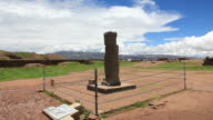 Megalithic sculpture in Tiwanaku, Bolivia video