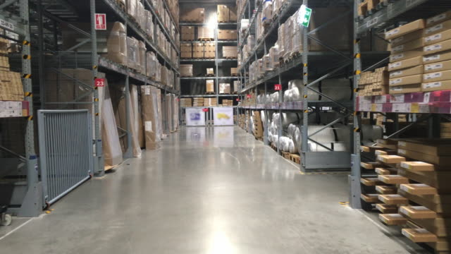 Megastore/warehouse with packages video