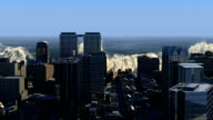 Megatsunami wave energy over metropolis video