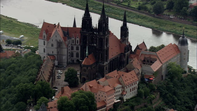 Meissen  - Aerial View - Saxony,  helicopter filming,  aerial video,  cineflex,  establishing shot,  Germany video