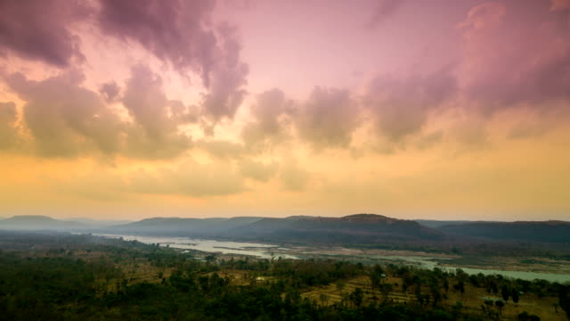 Mekong river at view point of pha taem national park video