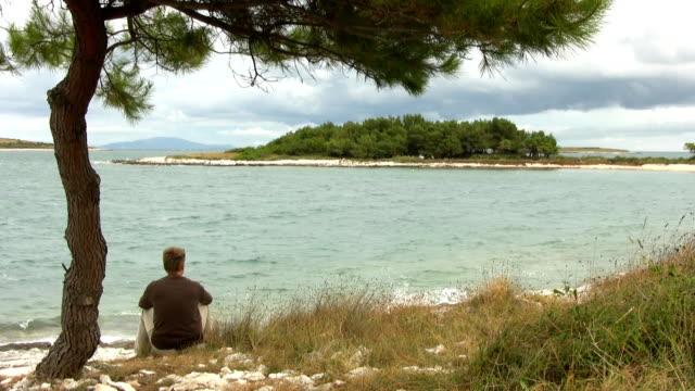 HD: Melancholic Man On The Beach video