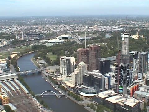 Melbourne city from the air video
