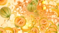 Melon Orange Yellow Fruit Splash Liquid Juice Fresh Background video