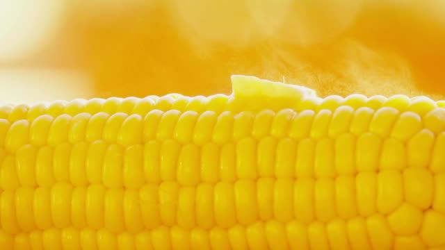 Melting butter on hot freshly boiled corn close-up shot video