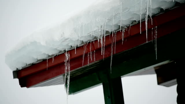 Melting icicles on a wooden chalet video