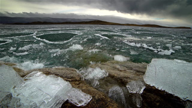 Melting of ice on the lake video