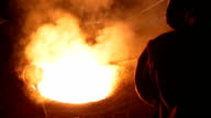 Melting of the metal at the industrial factory video