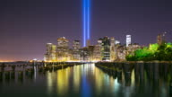 memorial day manhattan night towers of light 4k time lapse from 11 of september video