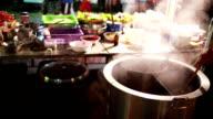 Men cooking noodle video