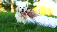 men enjoying time with his labrador dog video