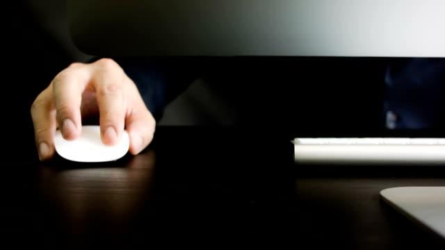 Men hand using computer video