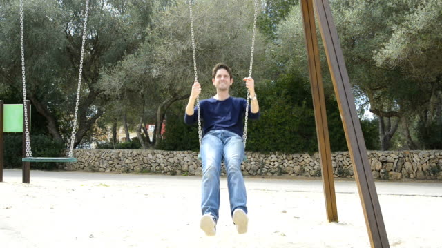 men having fun with swing in the park video